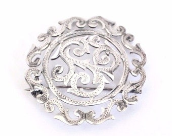 Antique Art Nouveau Modernist Sterling Silver .900 Brooch circa 1890s Marked