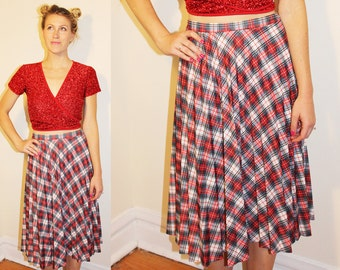 70s Vintage Red White Blue Plaid Pleated Polyester Midi Skirt