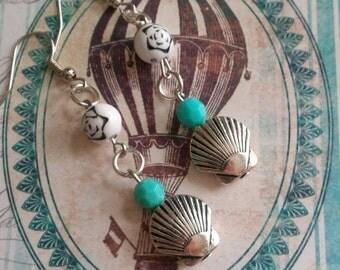 Shells, blue vintage Pearl Earrings