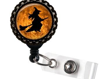 Witch- Badge Reel- Glass Dome-  Halloween Badge Reel- ID Badge Holder!! - Lanyards & Badge Holders