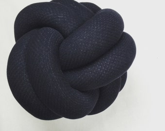 Navy Textured Knot Cushion Pillow