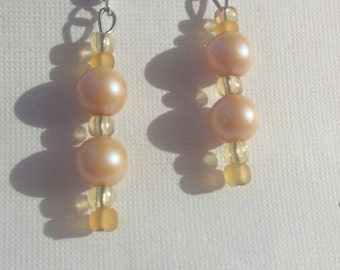Handmade beaded Pearl earrings, bridal, special occasion, one of a kind