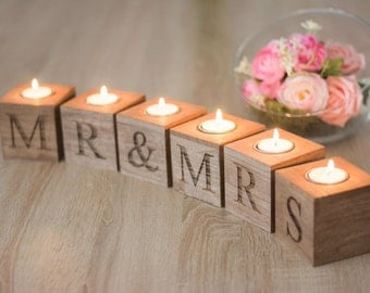 Mr Mrs Table Sign Sweet  heart Table Wedding Decoration Table Signs Candle Holders Rustic Wooden Sign Standing Mr Mrs  Wedding Sign