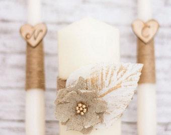 Unity Candle Set Ivory Unity Candle Rustic Wedding Ceremony Autumn Wedding Fall Wedding decoration