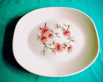 Serving Platter Edwin M. Knowles Coral Pine Pattern  ~ Lovely Vintage Pink Aster with Brown and Black Branches