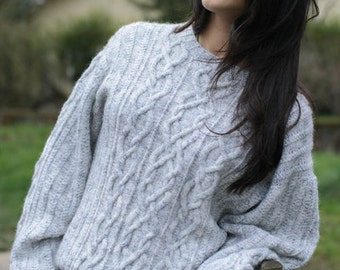 Sweater vintage 90s / grey Fleck / size 38-40