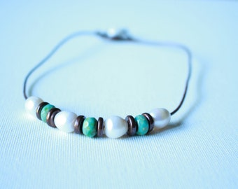 """16"""" leather freshwater pearl necklace"""