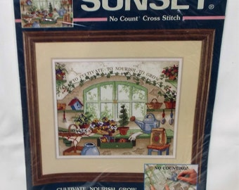 "Sunset No Count Cross stitch kit, Needlepoint, country lane, 14 count Ivory aida, 12"" x 10"", sewing gift, point de croix, design Amy Piccard"