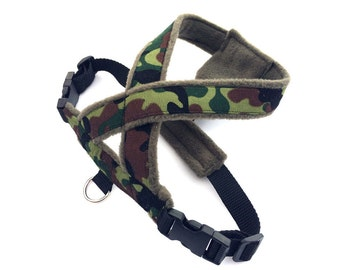 Camouflage print fabric dog harness.