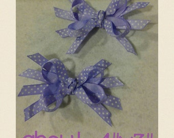 Purple polka-dots hair bows