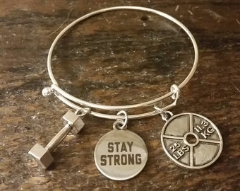 Stay Strong Fitness Weightlifting Motivation Bangle Bracelet