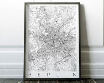 Map of Berlin - Fits IKEA frame - Home Decor - Wall Art - Wanderlust - Berlin Print - Travel Map - Housewarming Gift - Long Distance Love
