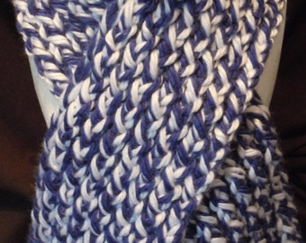 Blue And White Winter Scarf
