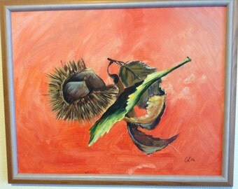 Picture with chestnuts and leaves-with frame