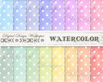 Watercolor Polka Dots Digital Paper,Watercolor Digital Paper Pack,Digital Paper Watercolor,Scrapbook Paper,Watercolour,Rainbow Colored