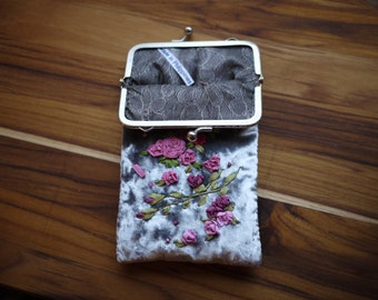 Hand embroidered kiss lock purse, embroidered silk ribbon, pink floral pouch, silk embroidered flowers, iPhone holder coin purse silver
