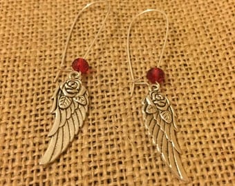 Red wings and roses earrings
