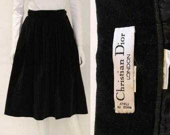 1970s Christian Dior Black Velvet Skirt