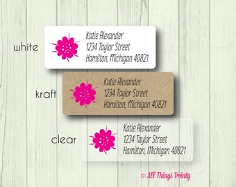 Floral Address Labels - Custom Everyday Personalized Pink Hawaiian Flower Return Mailing Stickers - Matte White, Kraft, or Clear Gloss