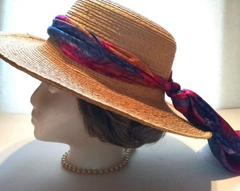 Vintage Straw Hat with Wide Brim Multi-colored Pink and Blue Scarf Made in Guatemala 100% Palm Leaves
