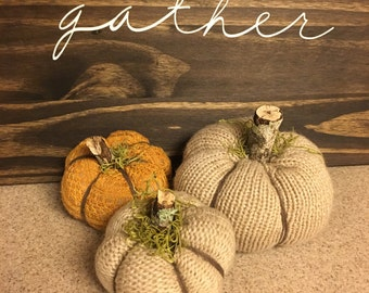 Sweater Pumpkins - Set of 3 - UpCycle - Fabric Pumpkin - Twig Stem - Fall - Harvest - Gather
