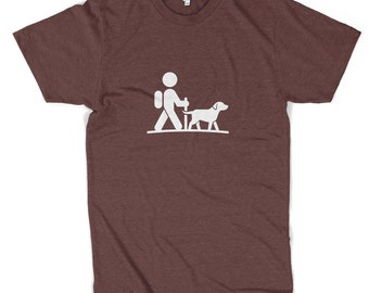 Hiker With Labrador Retriever Cotton T-Shirt