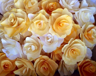 Yellow Hand Dyed Paper Roses