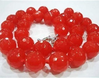 Lovely faceted knotted 10mm orange topaz necklace