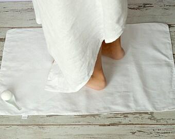 Linen bath mat - Pure linen double-layered feet towel -  Rough White linen bath mat - Home Spa accessories - Bath linen rug - Natural rug