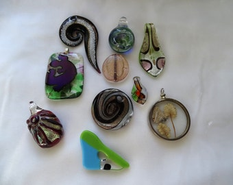Glass pendant lot. Ten glass assorted pendants salvaged from broken jewelry