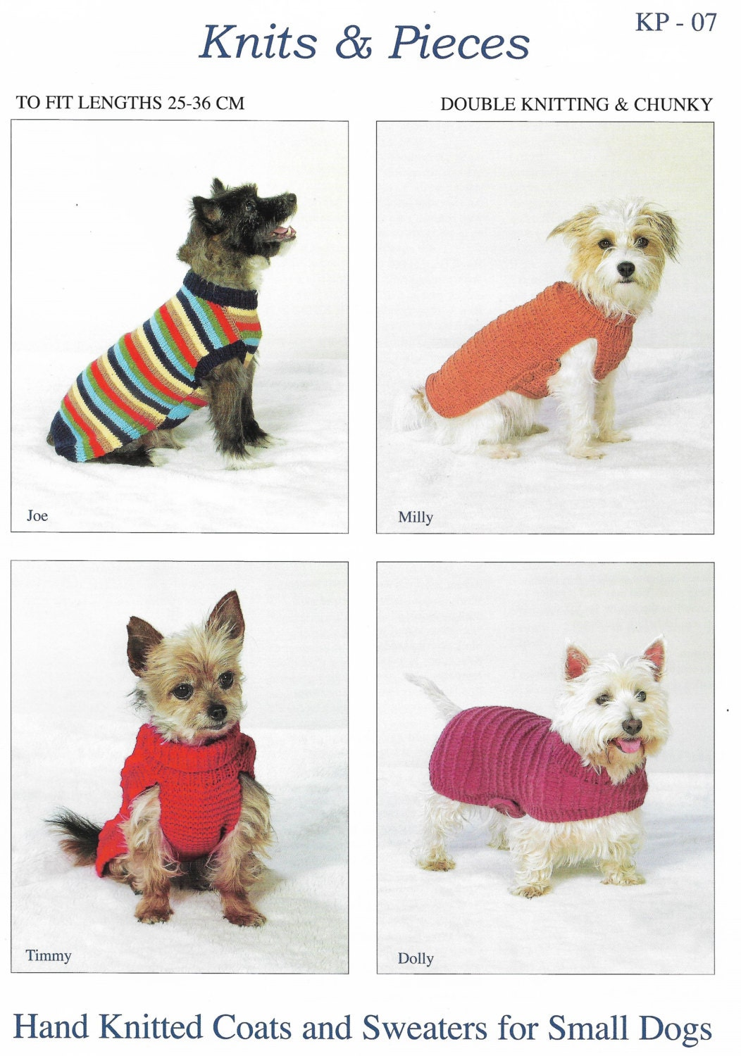 Hand knitted coats ans sweaters for small dogs pattern only - Knitting for dogs sweaters ...