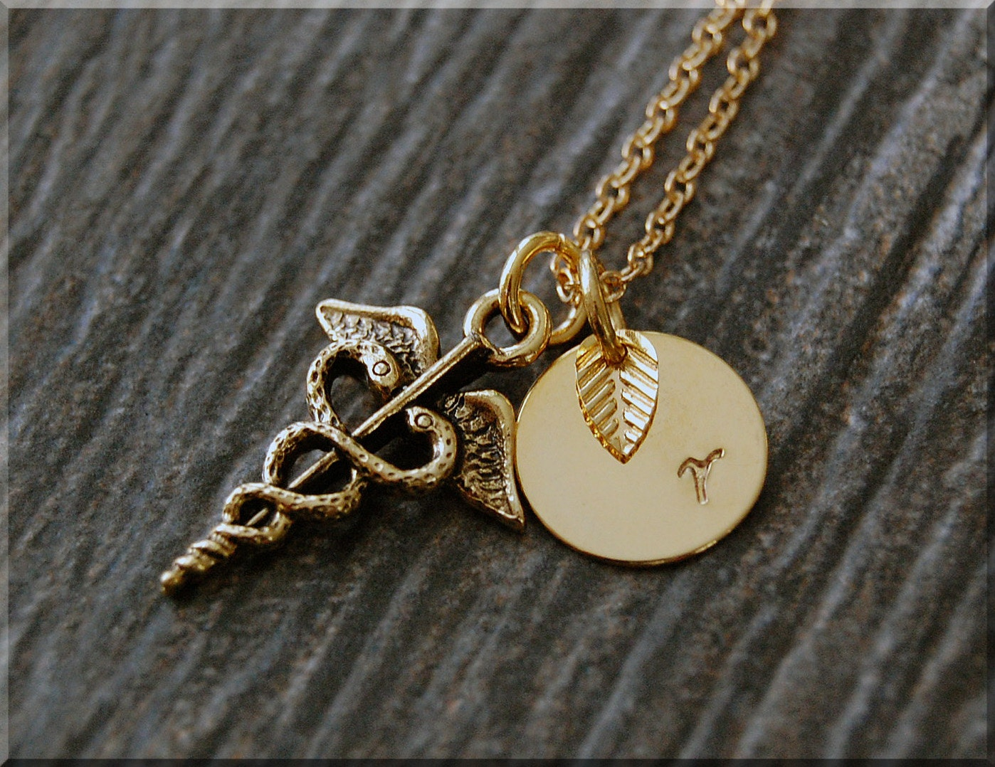 Gold caduceus charm necklace initial charm necklace zoom mozeypictures Image collections