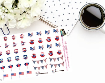 Planner Stickers |Patriotic Owl Stickers| 4th of July Stickers|Memorial Day Stickers|Patriotic Stickers| Decorative Stickers| D018