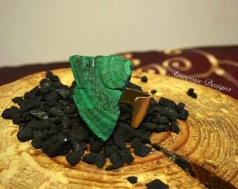 Malachite Brass Adjustable Ring