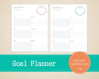 Monthly Goal Planner - Yearly Goal Planner - Goal Tracker - Goal List - Printable and Editable - INSTANT PDF DOWNLOAD - 2 Pages