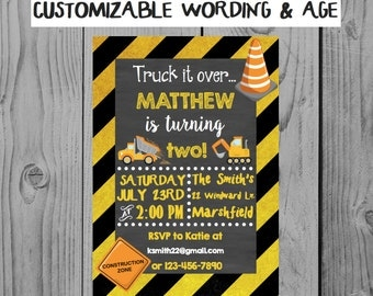 Custom Truck Birthday Invitation Truck Party Construction Party Boy Birthday Personalized Truck Invitation 2nd Birthday Party Boy Party
