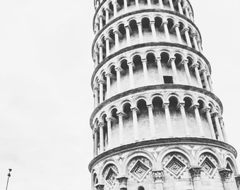 Leaning Tower of Pisa B&W 8x10