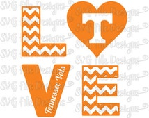 Chevron Love University of Tennessee Volunteers Vols Football Logo Cutting File / Clipart: Svg, Eps, Dxf, Png, Jpeg for Cricut & Silhouette