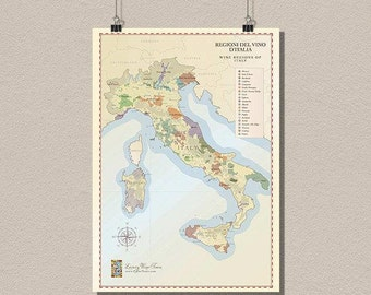 Italy Wine Region Map - Wine Poster Italian Wine Map Italy Map Wine Poster Kitchen Wall Art Housewarming Gift Idea bp