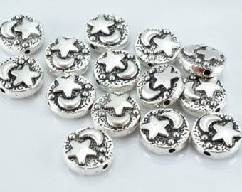 10m Moon Stars Antique Silver Metal Alloy Beads w/Black Accent Coloring Detailed Design 14pcs/PK,0.5m hole,4mm thickness