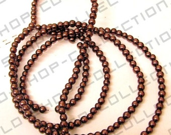 Glass Pearl Beads, Round, Brown Color, Size 6mm about 140 pcs
