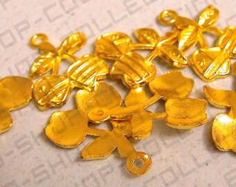 14mm, Double Cherry Pendant , Alloy Gold Color