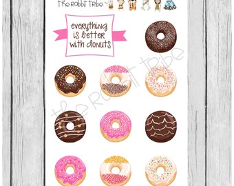 Mini Sticker Sheet - everything is better with donuts - planner stickers