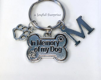 SALE Loss of Dog Gift, Memorial Dog Jewelry, Sympathy Gift, Keyring, Death of Dog Key chain, Dog Paw charm, In memory of my dog with initial