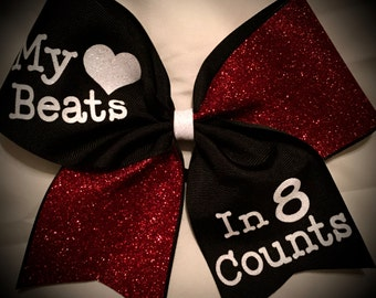 My HEART beats in 8 COUNTS Cheer bow Glitter Bow~CHOOSE Colors