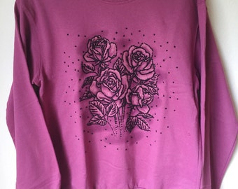Vintage 80s Beaded Rose Floral Pink Oversized Sweater Pullover