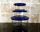 Vintage 6 Piece Pyrex Clear Glass Storage Bowls Nesting Set with Blue Plastic Lids