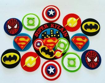 Superhero cupcake toppers x 12 and cake topper kit - batman superman spiderman captain america green lantern flash