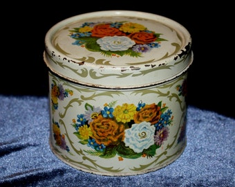 Vintage Golden Corsage Body Powder Tin with Flowers
