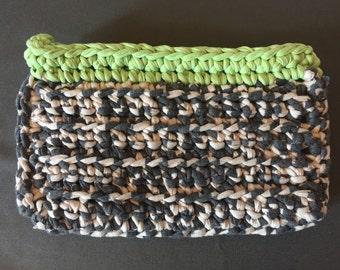 Crochet clutch grey white green